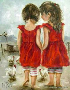 "cuadros""Two Girls"" by Maria Oosthuizen Beautiful Paintings, Love Art, Painting & Drawing, Amazing Art, Art For Kids, Art Photography, Art Gallery, Illustration Art, Artsy"