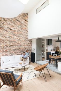 An Eclectic home in Biarritz, France - French By Design Boho Chic Living Room, Exposed Brick Walls, Loft, Modern House Plans, Mid Century House, Decoration, Architecture, Interior Decorating, House Design
