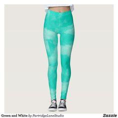 Green and White Yoga Legging #yogapants