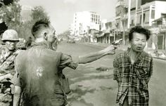Feb. 1, 1968, Saigon police chief Nguyễn Ngọc Loan executes Viet Cong officer Nguyễn Văn Lém