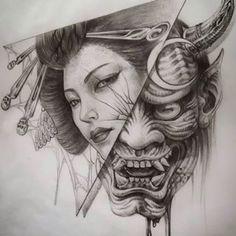 By in Triggiano, Italy 🇮🇹 Geisha Tattoos, Geisha Tattoo Design, Sketch Tattoo Design, Tattoo Sketches, Tattoo Drawings, Samurai Maske Tattoo, Hannya Maske Tattoo, Oni Tattoo, Hanya Tattoo