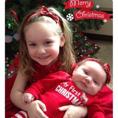 Lucy and Vivian :) - kids, sisters, girls, grandkids, family, love, first Christmas