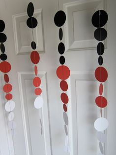 Paper Garland, Red, Black, and White Circles Paper Decorations, Pirate Party Casino Party Decorations, Casino Theme Parties, Paper Decorations, Birthday Parties, Birthday Ideas, Paper Garlands, Las Vegas, Booth, Poker Party