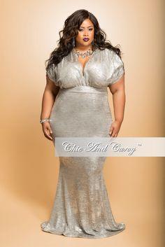 Final Sale (Seasonal) Plus Size BodyCon Gown in Metallic  Silver