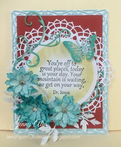 #cheeryld  Hello, it's Jenny here with a red, white & light blue card.   Cheery Lynn Dies Add a Flourish B456 Poinsettia Strip B324 Flourish Leaf Strip B178 Small Exotic Butterflies 1 DL112AB Nautical Wheeler Doily Deutschland Boutique Stacker A2 Frames DL294 Rectangular Classic A2 Frames CM5 Circle Classic Silver Stackers L4  www.CheeryLynnDesigns.com