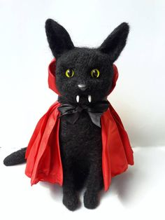 Lord of Night / Cat-cula / Black Cat Vampire Dracula Art Doll Vampire Dracula, Vampire Art, Mary And Max, Unique Cats, Cat Doll, Doll Maker, Etsy Handmade, Handmade Items, Handmade Gifts