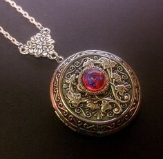 Large Dragons Breath Locket Necklace  Fire by FashionCrashJewelry
