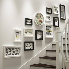 20 pieces set of different size solid wood picture photo frame set white black mixed wall hanging frame set home decor living room decor Decor, Staircase Wall Decor, Staircase Decor, Wall Decor, Staircase Wall, Picture Frame Wall, Stair Walls, European Home Decor, Living Decor