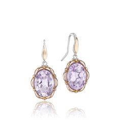 Sweet 18kt rose gold contours oval shaped Rose Amethyst gemstones like the ruffles on a skirt in these fashion earrings.  Hanging pretty from a French wire, these gems will dance and dangle the night away!