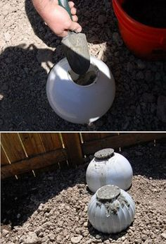How to make concrete spheres out of old glass light shades: Spray the inside with cooking spray & add cement mixture - break the glass off once it has cured.