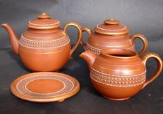 Antique 19th. C. English Redware pottery teapot teaset with enamel beaded decor #staffordshirewedgwood
