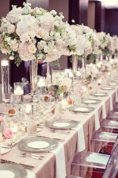 13 DIY Wedding Ideas for Unique Centerpieces with More best Wedding Decor images Elegant Centerpieces, Wedding Table Centerpieces, Wedding Table Settings, Wedding Reception Decorations, Table Decorations, Wedding Ideas, Diy Wedding, Wedding Planning, Place Settings