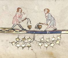 Children playing whip and top in Oxford, Bodleian Library MS Bodley 264