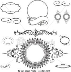 Vector - Vector Swirl Ornament and Frame Set - stock illustration, royalty free illustrations, stock clip art icon, stock clipart icons, logo, line art, EPS picture, pictures, graphic, graphics, drawing, drawings, vector image, artwork, EPS vector art $10
