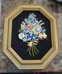 OOAK Framed Rhinestone Jewelry Flower Bouquet #Vintage