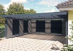 A double carport by Steelmanufaktur Beyer Carport Garage, Pergola Carport, Pergola Kits, Carport Modern, Modern Gazebo, Pergola On The Roof, Patio Roof, Enclosed Carport, Double Carport