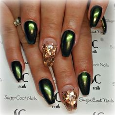 fall coffin nails green chrome nails with gold heart glitter sugarcoat nails