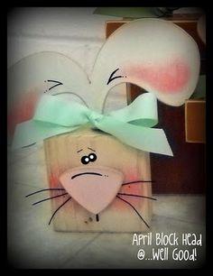 Conejito de Pascua en madera - Wood Easter Bunny
