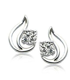 18K White Gold Plated Delicate Solitaire Leaf Design