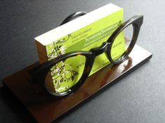 Business card holder made from vintage glasses frames, eco friendly geekery, ooak. $25.00, via Etsy.