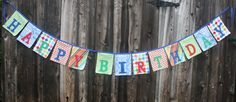Happy Birthday Fabric Banner Bunting Garland by roundthebendagain Birthday Cake Icing, Baby Boy Gowns, Picture Letters, Bunting Garland, Farm Party, Custom Banners, Happy Birthday Banners, New Baby Gifts, Birthday Celebration