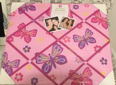 French Memo Board Display For Photos, Cards, Mementos Pink Butterfly Girls Room #Frenchmemoboard #Contemporary