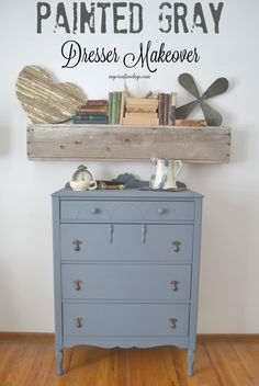 This painted gray dresser from My Creative Days was rescued from a thrift store. It had a few issues that were easily fixed and the new paint color really made it a show stopper!