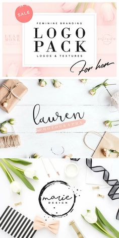Feminine Branding Logo Pack is a collection of premium blog style feminine logo templates. Including 120 carefully designed branding logos compatible with both Photoshop & Illustrator and a bonus of 25 high quality textures. #AffiliateLink Logo Design Template, Logo Templates, Photoshop Logo, Photoshop Illustrator, Logo Branding, Branding Design, Vector Shapes, Packaging Design Inspiration, Graphic Design Typography