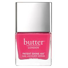 butter LONDON Patent Shine 10X Nail Lacquer 11ml - Flusher Blusher ($18) ❤ liked on Polyvore featuring beauty products, nail care, nail polish, formaldehyde free nail polish, butter london, shiny nail polish and butter london nail lacquer