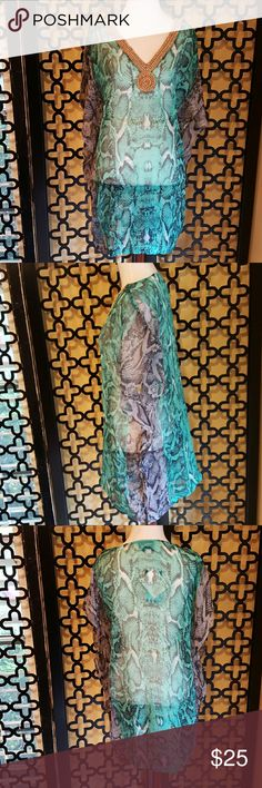 GREEN AND BLACK GOLD BEADED TUNIC Super cute! Can also wear as a coverup! NWT, NO FLAWS. Measurements:  bust is 32 inches. Length is 29. aqua blue Tops