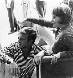 """Great nautical striped split-neck pullover. So great it steals every scene it's in.  """"Robert Redford and Natalie Wood relax on the set of Inside Daisy Clover (1966)"""""""