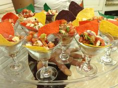 in mini martini glasses Largo Conch House weddings Conch House, Ceviche, Fruit Salad, Martini, Catering, Tropical Weddings, Table Decorations, Glasses, Food
