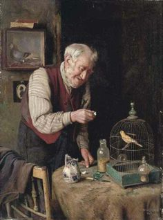 """A Favorite Pet."" Painting by Charles Spencelayh (1865-1958), an English genre painter and portraitist in the Academic style."