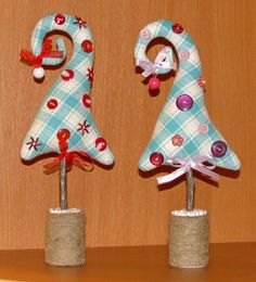 Curly-topped fabric trees - no tutorial, pic for inspiration