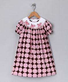 Brown & Pink Elephant Bishop Dress