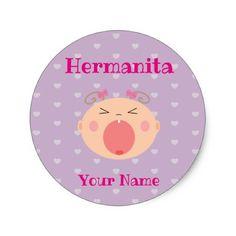 Blue baby shower address labels spanish hermanitalittle sister sticker negle Images