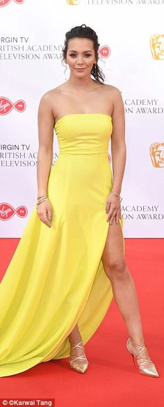 Stars put on dazzling red carpet display at TV Awards Glamorous: Hollyoaks star Nadine Rose Mulkerrin wowed in a lemon strapless dress with a th.Glamorous: Hollyoaks star Nadine Rose Mulkerrin wowed in a lemon strapless dress with a th. British Celebrities, Festival Hall, Tv Awards, Hollyoaks, Yellow Dress, Put On, Strapless Dress Formal, Mail Online, Celebs