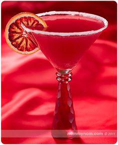 Bloody Valentine Martini: Absolute Mandarin Vodka, Blood Oranges, Campari, Slices  Blood Orange, White Sugar.