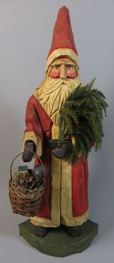 "1994 Rare Vaughn & Stephanie Rawson Whimsical Whittler 14"" Santa Claus w/Basket   | eBay"