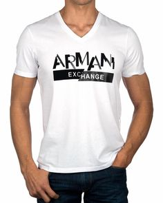 Camiseta Cuello Pico ARMANI EXCHANGE ® Blanca | ENVÍO GRATUITO Cut Up Shirts, Cheer Shirts, Tie Dye Shirts, T Shirt Yarn, Polo T Shirts, Printed Shirts, Camiseta Armani Exchange, Black Polo T Shirt, Cute Tshirt Sayings
