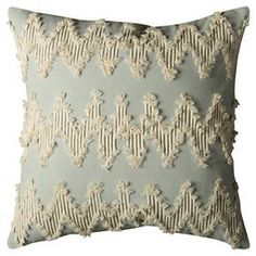 """Frayed Chevron Throw Pillow Natural/Dust Blue (20""""x20"""") - Rizzy Home® : Target"""