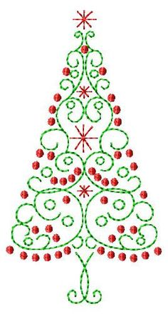 Scroll Christmas Tree Machine Embroidery Design 2 sizes. $5.00, via Etsy.