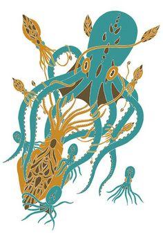 Animalarium: Sunday Safari - A Tentacled Mystery Aliens, Earth's Spheres, Octopus Art, Teal Green, Art Forms, Rooster, Safari, Cool Art, Battle