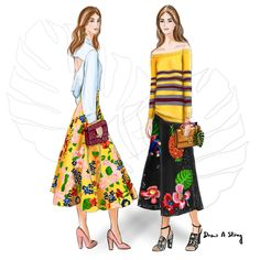 Summer Tropics featuring Valentino's Resort 2017; fashion illustration by Draw A Story.