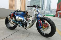 Street Cub Custom Motorcycles, Cars And Motorcycles, Motorised Bike, Honda Cub, Motorized Bicycle, Cafe Racer Bikes, Mini Bike, Control Panel, Wolverine