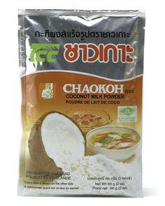 Coconut Milk Powder by Chaokoh. Coconut Milk Powder, Snack Recipes, Snacks, Powdered Milk, Beverages, Chips, Tea, Food, Asian