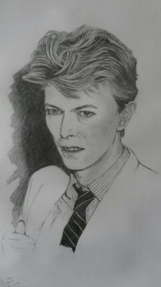 David Bowie pencil drawing by Stephen Kingham.