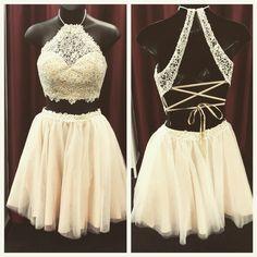 Hd60813 High Quality Homecoming Dress,Lace Homecoming Dress,Halter Graduation…