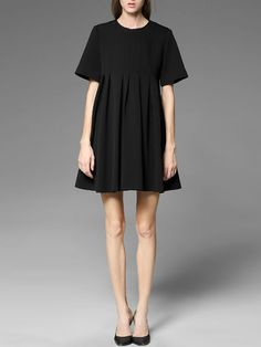 Pleated Rayon Mini Dress