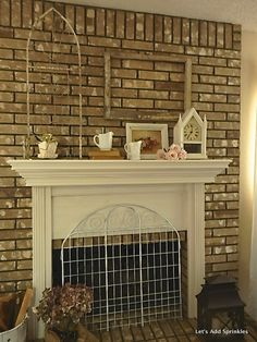 Hand painted fireplace screen c splendor the screen in front of the fireplace from lets add sprinkles i think this would teraionfo